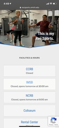 Screenshot of Rec Sports homepage on an iPhone